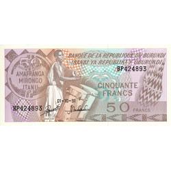 Burundi - Pick 28c_3 - 50 francs - 01/10/1991 - Etat : NEUF