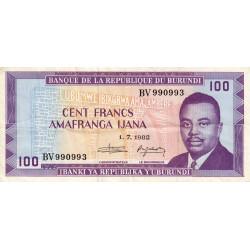 Burundi - Pick 29b_2 - 100 francs - Série BV - 01/07/1982 - Etat : TB+