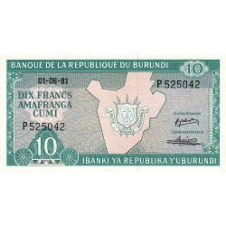 Burundi - Pick 33a_1 - 10 francs - Série P - 01/06/1981 - Etat : NEUF