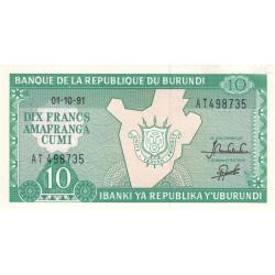 Burundi - Pick 33b_4 - 10 francs - Série AT - 01/10/1991 - Etat : NEUF