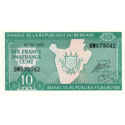 Burundi - Pick 33e_1 - 10 francs - Série BW - 05/02/2005 - Etat : NEUF