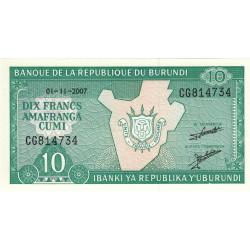 Burundi - Pick 33e_2 - 10 francs - 01/11/2007 - Etat : NEUF
