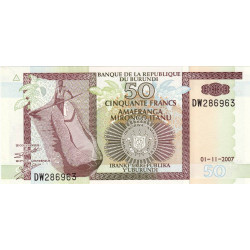 Burundi - Pick 36g - 50 francs - Série DW - 01/11/2007 - Etat : NEUF