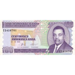 Burundi - Pick 37a - 100 francs - Série ES - 01/10/1993 - Etat : TTB+