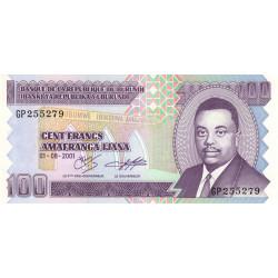 Burundi - Pick 37c - 100 francs - Série GP - 01/08/2001 - Etat : NEUF