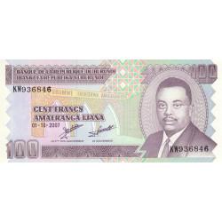 Burundi - Pick 37f - 100 francs - 01/10/2007 - Etat : NEUF