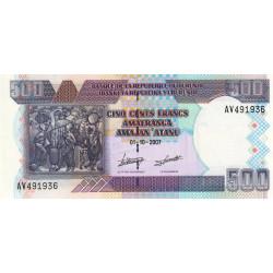 Burundi - Pick 38d - 500 francs - Série AV - 01/10/2007 - Etat : NEUF