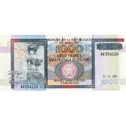 Burundi - Pick 39b - 1'000 francs - Série AV - 01/12/1997 - Etat : NEUF
