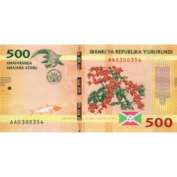Burundi - Pick 50a - 500 francs - Série AA - 15/01/2015 - Etat : NEUF