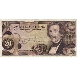 Autriche - Pick 142 - 20 shilling - 1967 - Etat : TB- à TB