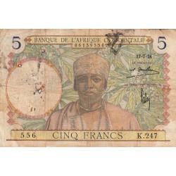 AOF - Pick 21_1a - 5 francs  - Etat : AB