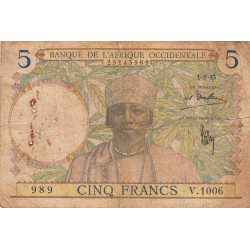 AOF - Pick 21_1c - 5 francs  - Etat : B