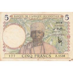 AOF - Pick 21_1d - 5 francs  - Etat : TB+