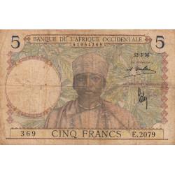 AOF - Pick 21_1d - 5 francs  - Etat : B