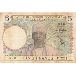 AOF - Pick 21_1d - 5 francs - 12/03/1936 - Etat : TB