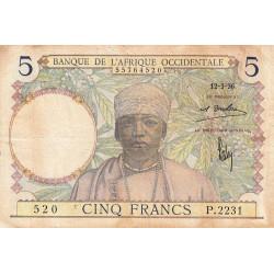 AOF - Pick 21_1d - 5 francs  - Etat : TB