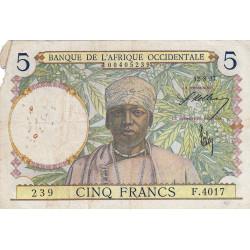 AOF - Pick 21_2b - 5 francs - 12/08/1937 - Etat : B+