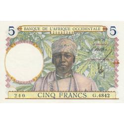 AOF - Pick 21_2c - 5 francs - 10/03/1938 - Etat : SUP+