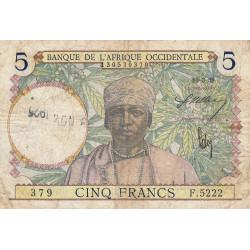 AOF - Pick 21_2c - 5 francs - 10/03/1938 - Etat : B+