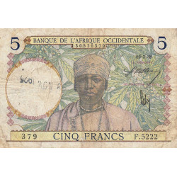 AOF - Pick 21_2c - 5 francs  - Etat : B+