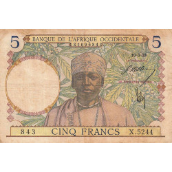 AOF - Pick 21_2c - 5 francs - 10/03/1938 - Etat : TB