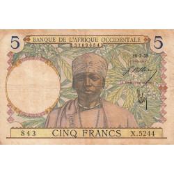 AOF - Pick 21_2c - 5 francs  - Etat : TB