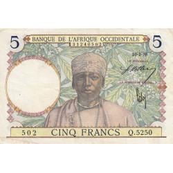 AOF - Pick 21_2c - 5 francs - 10/03/1938 - Etat : TTB