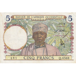 AOF - Pick 21_2d - 5 francs - 27/04/1939 - Etat : TTB-