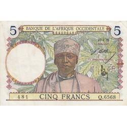AOF - Pick 21_2d - 5 francs  - Etat : TTB-