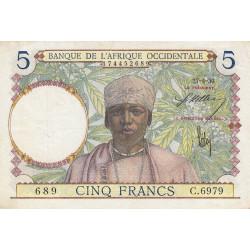 AOF - Pick 21_2d - 5 francs  - Etat : TTB+