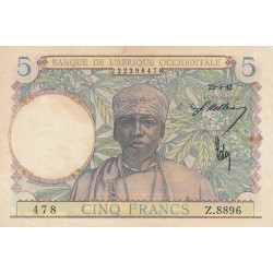 AOF - Pick 25_2 - 5 francs - 22/04/1942 - Etat : SUP+