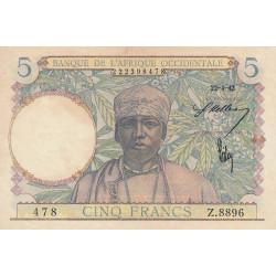 AOF - Pick 25_2 - 5 francs  - Etat : SUP+