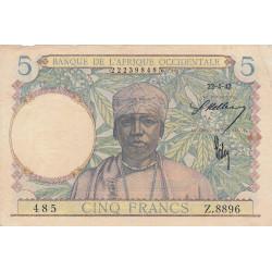 AOF - Pick 25_2 - 5 francs - 22/04/1942 - Etat : TTB+