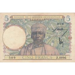 AOF - Pick 25_2 - 5 francs - 22/04/1942 - Etat : SUP