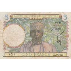 AOF - Pick 25_3 - 5 francs - 06/05/1942 - Etat : B+