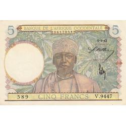 AOF - Pick 25_3 - 5 francs - 06/05/1942 - Etat : SUP