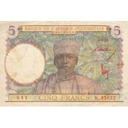 AOF - Pick 26 - 5 francs - 02/03/1943 - Etat : TB