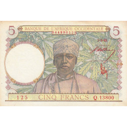 AOF - Pick 26 - 5 francs - 02/03/1943 - Etat : SUP+
