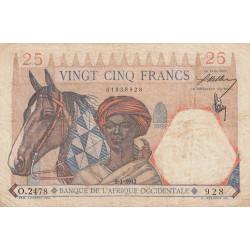 AOF - Pick 27_1 - 25 francs  - Etat : TB+