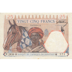 AOF - Pick 27_2 - 25 francs - 24/02/1942 - Etat : SUP