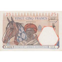 AOF - Pick 27_3 - 25 francs  - Etat : SPL