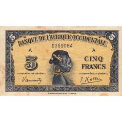 AOF - Pick 28a_1 - 5 francs - 14/12/1942 - Etat : TB
