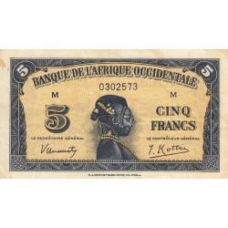 AOF - Pick 28a_1 - 5 francs  - Etat : TB+