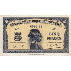 AOF - Pick 28b - 5 francs - 14/12/1942 - Etat : TTB