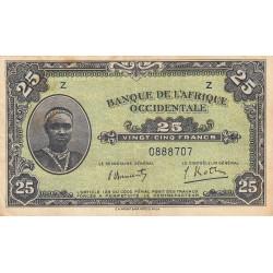 AOF - Pick 30a - 25 francs - 14/12/1942 - Etat : TTB-
