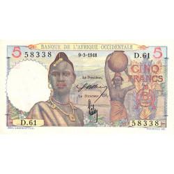 AOF - Pick 36_1c - 5 francs - 09/03/1948 - Etat : SUP+