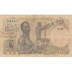 AOF - Pick 37_2a - 10 francs - Etat : B