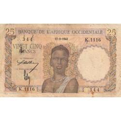 AOF - Pick 38_1a - 25 francs - 17/08/1943 - Etat : TB-