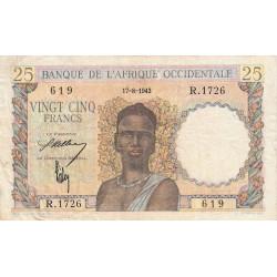 AOF - Pick 38_1a - 25 francs - 17/08/1943 - Etat : TB+