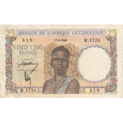 AOF - Pick 38_1a - 25 francs - Etat : TB+